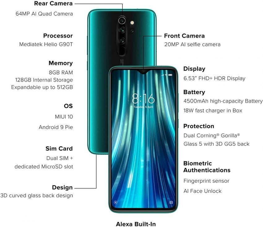 Redmi Note 8 Pro Gamma Green 6GB RAM 64GB Storage