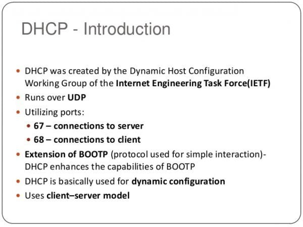What is DHCP definition (Dynamic Host Control Protocol)